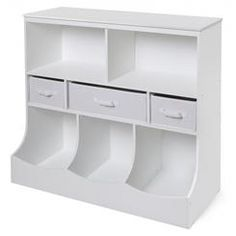 Badger Basket Combo Bin Storage Unit With Three Baskets   White