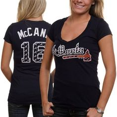 Majestic Threads Brian McCann Atlanta Braves Repeating Logo V-Neck Premium T-Shirt - Navy Blue. I want this