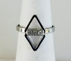 Vtg 1970s Dainty Diamond Shaped Clear Rhinestone Silver Tone Adj Ring Sz 4.75 #NotSigned #Dainty