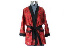 Vintage red Kimojama cotton kimono / smoking by PrettyOldGoods, $32.00
