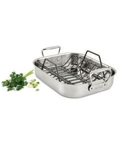 "All-Clad Stainless Steel Roasting Pan with Rack 51114 , 11"" x 13"""