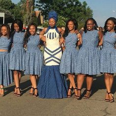 shweshwe attire for African women – fashion - NALOADED African Bridesmaid Dresses, African Dresses For Women, African Print Dresses, African Fashion Dresses, African Women, African Beauty, African Prints, Wedding Dresses South Africa, African Wedding Attire