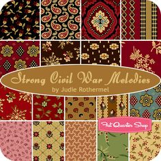 Strong Civil War Melodies Fat Quarter Bundle Judie Rothermel for Marcus Brothers Fabrics