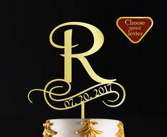 Letter R Cake Topper Wedding Name Gold  Wedding Cake Topper