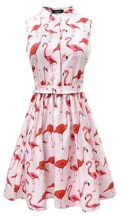 Women's Flamingo Print Knee-Length Vintage Style Sleeveless Summer Dress #flamingos #flamingofashion #flamingoprint #flamingodress #dress #fashion #womensfashion #summerfashion #summerfashion