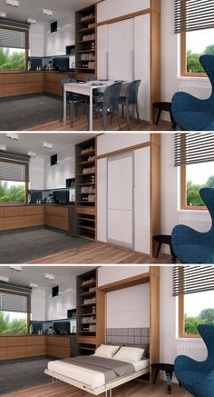 Built In Furniture, Bedroom Furniture Design, Space Saving Furniture, Bed Furniture, Kitchen Furniture, Guest Bedroom Office, Room Decor Bedroom, Small Space Living, Small Spaces