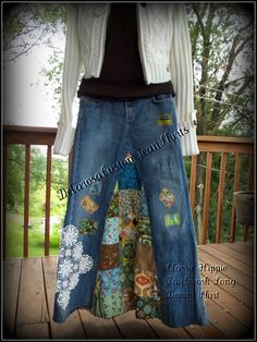 Classic Hippie patchwork Long Jean Skirt by CustomJeanSkirts,