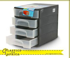 Keep all your documents, stationery and other accessories organised with this 4 Drawer system. Available from your nearest store. Plastic Shop, Other Accessories, A4, Drawers, Stationery, Organization, The Originals, Storage, Table
