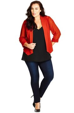 City Chic Drapey Blazer with Chiffon Sleeves (Plus Size) available at #Nordstrom