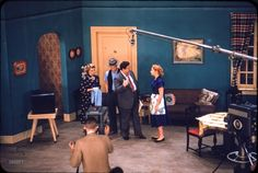 """April 1955. """"Art Carney, Jackie Gleason, Audrey Meadows, and Joyce Randolph performing skit on television sound stage for The Honeymooners."""" From the April 1955 Look Magazine story """"Gleason's Pal Carney """""""