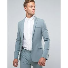 ASOS WEDDING Super Skinny Suit Jacket In Pastel Blue ($90) ❤ liked on Polyvore featuring men's fashion, men's clothing, green, tall mens clothing, mens beach wedding apparel and asos mens clothing