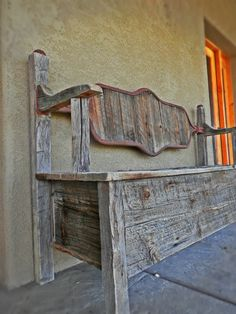 Beautiful oak reclaimed wood hidden storage bench  www.outlawcowboyfurniture.com