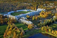 Breathtaking aerial view of the Catherine Palace at Tsarskoye Selo.