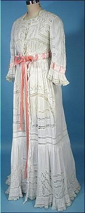 1880's (?) White Lawn Peignoir  or Dressing Gown with Valenciennes Lace and Embroidery