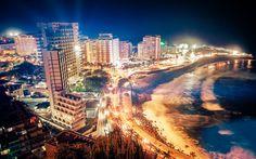 Lataa kuva Puerto de la Cruz, Kanarian Saaret, Teneriffan saarella, matkailukeskus, illalla, Atlantin Valtameri, ranta, Espanja