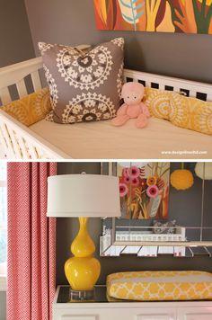 Yellow nursery design lines pink, yellow, gray nursery raleigh nc kid's Yellow And Pink Nursery, Coral Nursery, Pink Yellow, Blue, Girl Room, Girls Bedroom, Christmas Jars, Nursery Inspiration, Nursery Ideas