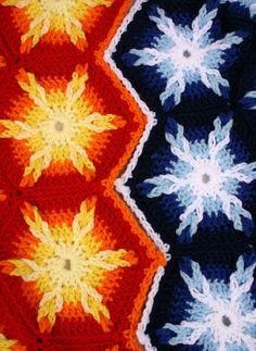 Crochet afghan PDF pattern looped hexagons by lovinghandscrochet