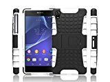 Sony Xperia Z2 Case,Xperia Z2 Case Protective*HOT* [Heavy Duty Armor][Shockproof]Dual Layer 2 in 1 Combo Defender Hybrid Case Cover with Kickstand for Sony Xperia Z2 .-White