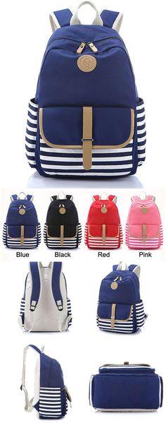 Simple Striped Large School Bag Travel Bag Canvas Backpack for big sale! #striped #large #school #Backpack #Bag #college #rucksack #fashion #travel #cute