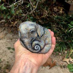 Coloring Rocks, Chunky Babies, Asian Elephant, Rock Decor, Pet Rocks, Sticks And Stones, Stone Painting, Rock Painting, Pebble Art