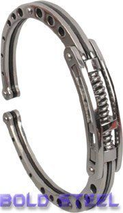 Spring SHOCK Handcuff Men Stainless Steel Bracelet USA BOLD STEEL. $14.95. Male. Save 60% Off!