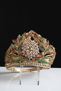 19th Century Gilt Brass Repousse and Trembleuse Tiara with Red, Green, and Clear Facet Cut Glass Jewels