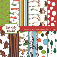 gruffalo themed digital scrapbook papers by laneandmay on Etsy, $7.50