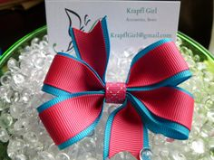 Double Layer 4 Loop Small Girls Hair Bow Electric Blue and Magenta by krapflgirl, $3.00