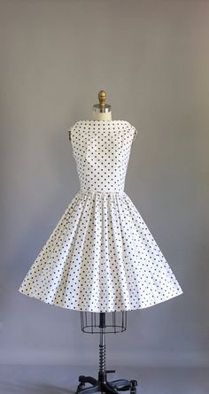 1b80a9e2dec5e9 RESERVED for Victoria- Vintage 50s Dress/ 1950s Cotton Dress/ Julie Miller  Black & White Polka Dot Sundress w/ Low Back XS/S
