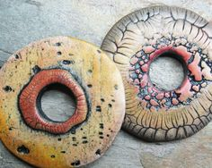 Polymer clay disc beads with natural patterns by atLoganSquare
