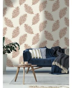 This Fawning Feather Wallpaper in copper and cream features a beautiful feather motif with contrasting finishes for added depth and interest. Free UK delivery available Feather Wallpaper, Tree Wallpaper, Gold Feathers, Love Seat, Wall Decor, Couch, Throw Pillows, Ebay, Free Uk