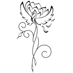 A creative tattoo art for girls. A phoenix with a lotus mean rebirth, change and new beginning. Style: Fine Line. Color: Black. Tags: Creative, Great