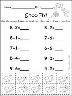 Subtraction Problems (from 10) with Manipulatives (CREEPY CRAWLIES) - Your students will have a ball using these CREEPY CRAWLIES (manipulatives) to solve subtraction problems (from 10). $