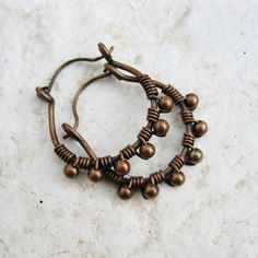 Antiqued Copper Wire Wrapped Beaded Hoops.