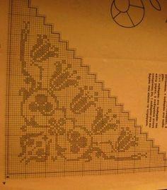 #Bohca#kenari Filet Crochet Charts, Crochet Stitches, Crochet Patterns, Bargello, Lace Making, Corner Designs, Knitted Shawls, Crochet Lace, Fabric Flowers