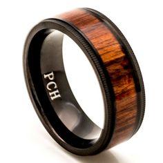 Men's Titanium Wedding Band with Real Hawaiian Koa Wood Inlay, Black Milgrain Edge Comfort Fit 8 MM Ring