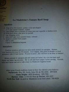La Madeline Tomato Basil Soup Recipe If this is truly the recipe I will die!
