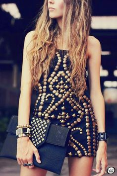 Gorgeous Fell On Black #Dress. women's fashion and style. beaded, studded shift dress.