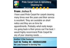 I have used Pride Carpet for carpet cleaning many times over the years and their service...