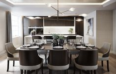 The contemporary kitchen / dining room at our multi unit development in Fitzrovia . Luxury Dining Room, Dining Room Design, Dining Area, Kitchen Dining, Dining Chairs, Dining Table, Luxury Interior Design, Interior Styling, Interior Architecture