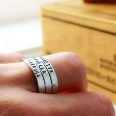 Three custom Sterling silver hand stamped rings - stacking rings - personalized name rings - USD $81.99