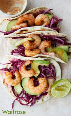 Smoky fried prawns, red cabbage, avocado and chilli soured cream piled into warmed tortillas – this recipe is perfect for barbecue season! See a step-by-step method on the Waitrose website.