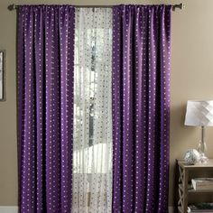 Polka Dot Blackout Rod Pocket Curtain Panel (Set of 2)