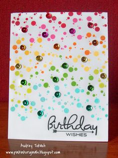 colorful spotted (& sequined) card by Audrey Tokach... (change sentiment)