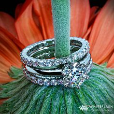 Diamond engagement ring. Beautifully sculpted eternity wedding rings house approximately 23 brilliant Whiteflash ACA diamonds each, 1.08ctw F/G VS. Width: 2.3mm.