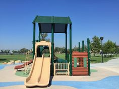 Double slides on the playground for little kids at Mountain View Park in Eastvale, California. http://youreastvalerealtor.com/eastvale-parks/