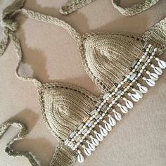 Hand made crochet bralette unlined tie sides an neck Intricately hand beaded using pearls shells and brass beads