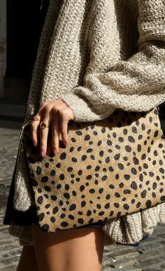 Beautiful animal print clutch.