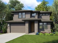 Contemporary Two-Story House Plan with Bonus Room - Contemporary House Plans, Contemporary Style Homes, Modern House Plans, House Floor Plans, Modern Houses, Contemporary Design, Narrow Lot House Plans, Two Story House Plans, Two Story Homes