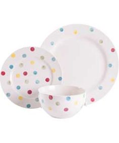 Living 12 Piece Hand Painted Spotty Stoneware Dinner Set.  sc 1 st  Pinterest : spotty dinnerware - pezcame.com